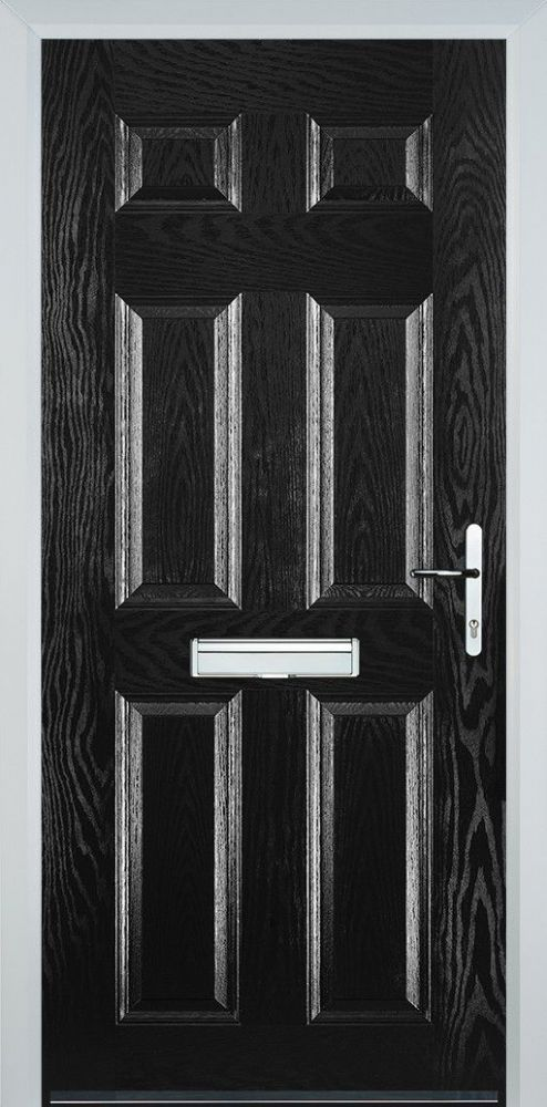 6 Panel Composite Door Black